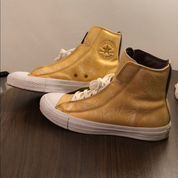 Leather Yellow Gold White Converse Mens